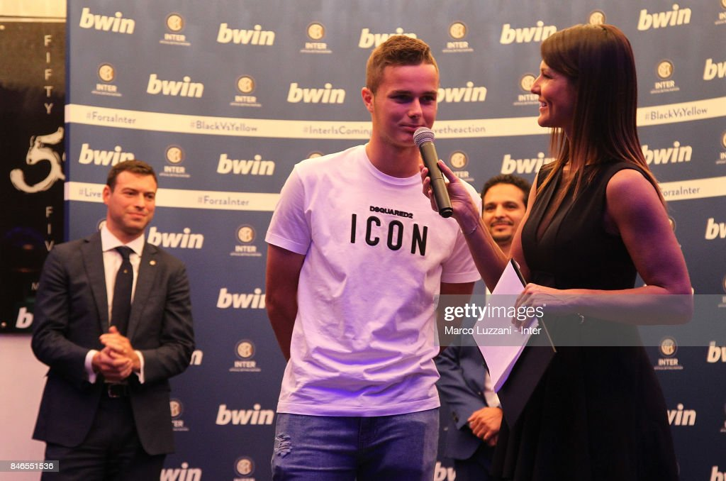 Zinho Vanheusden of FC Internazionale and Barbara Pedrotti attend BWin event on September 13, 2017 in Milan, Italy.