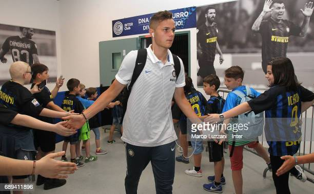 Zinho Vanheusden of FC Internazionale arrives prior to the Serie A match between FC Internazionale and Udinese Calcio at Stadio Giuseppe Meazza on...