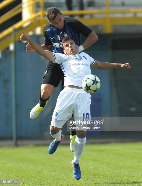 Zinho Vanheusden of FC Internazionale competes for the ball with Yuriy Kozyrenko of Dynamo Kiev during the UEFA Youth League Domestic Champions Path...