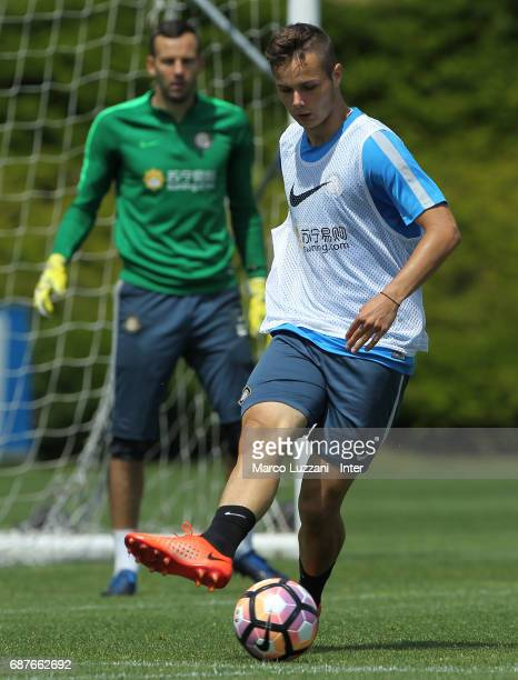 Zinho Vanheusden of FC Internazionale in action during the FC Internazionale training session at the club's training ground Suning Training Center in...
