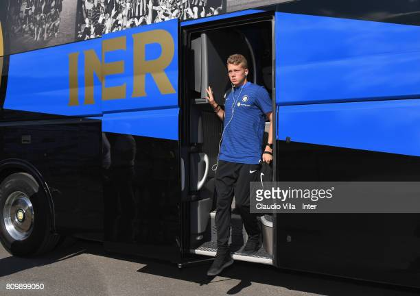Zinho Vanheusden of FC Internazionale Milano arrives at Training Camp on July 6 2017 in Reischach near Bruneck Italy
