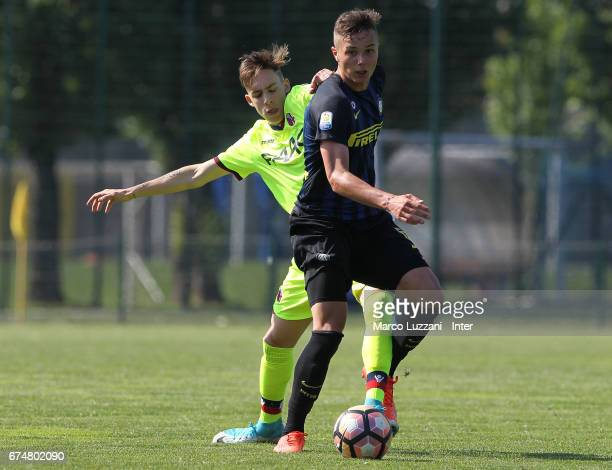 Zinho Vanheusden of FC Internazionale Milano competes for the ball during the Primavera Tim juvenile match between FC Internazionale and Bologna FC...