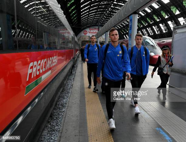 Zinho Vanheusden of FC Internazionale travel to Bologna ahead of the Serie A match on September 18 2017 in Milan Italy