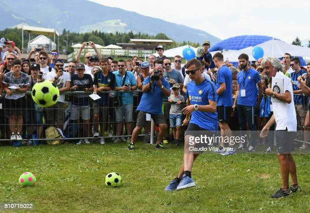 Zinho Vanheusden of FC Internazionale visits the Inter Village after the FC Internazionale training session on July 8 2017 in Reischach near Bruneck...