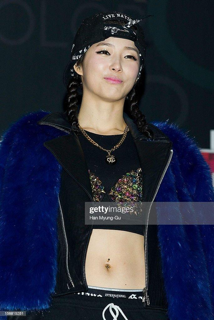 Zinni (Kim Jin-Hee) of South Korean girl group GLAM arrives at the 2012 SBS Korea Pop Music Festival named 'The Color Of K-Pop' at Korea University on December 29, 2012 in Seoul, South Korea.