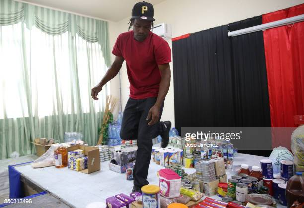 Zion Constable volunteers at a shelter in the Sir Vivian Richards Cricket Stadium on September 20 2017 in North Sound Antigua and Barbuda Refugees...