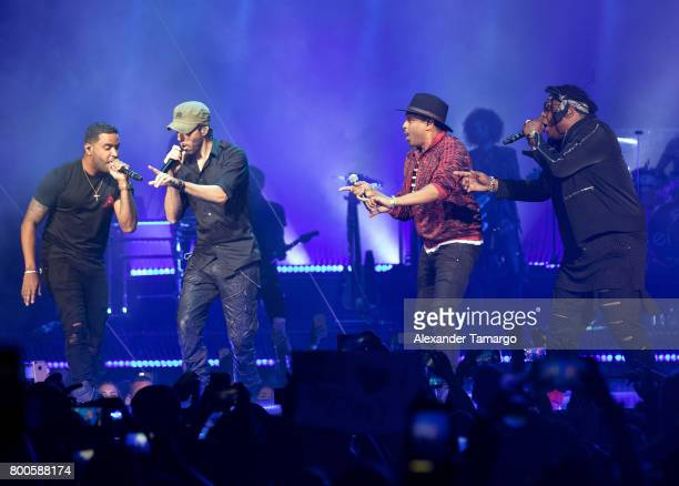 Zion Enrique Iglesias Descemer Bueno and Lennox are seen performing on stage at the AmericanAirlines Arena on June 23 2017 in Miami Florida