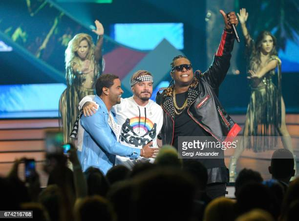 Zion Lennox with J Balvin perform onstage at the Billboard Latin Music Awards at Watsco Center on April 27 2017 in Coral Gables Florida