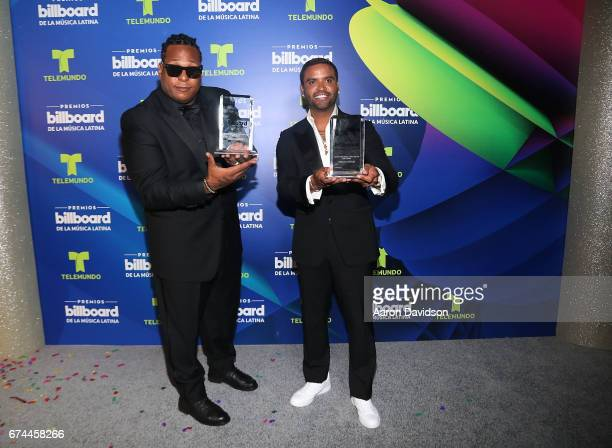 Zion y Lenox poses backstage during the Billboard Latin Music Awards at Watsco Center on April 27 2017 in Coral Gables Florida