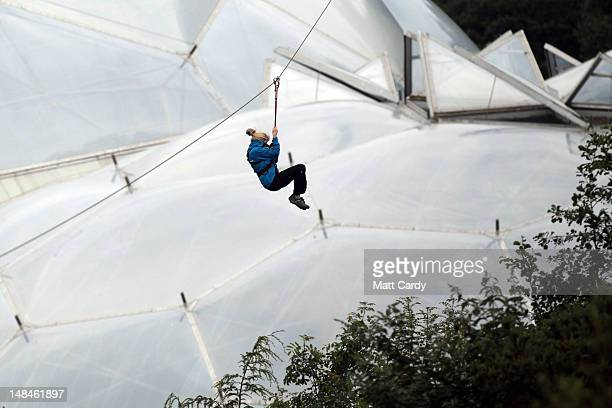 Zip wire instructor Emma Henderson tries out the SkyWire the new zip wire attraction which opens to the public this week at The Eden Project on July...