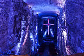 The interior of the Catedral de Sal, or the Salt Cathedral in Zipaquirá, located about 49 kilometres north of the capital city of Bogota, at an altitude of 2652 metres above sea level on the Andes, in