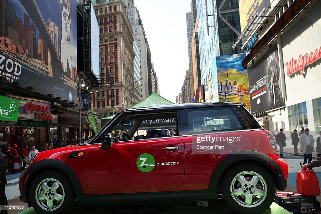 A Zipcar is displayed during a promotion of the short term car rental company on April 14, 2011 in Times Square in New York City. Zipcar debuted on the Nasdaq Stock Market Thursday under the symbol ZIP and saw its stock surge 67% on its first day of trading.