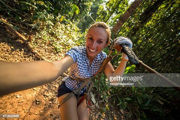 Zip-line selfie