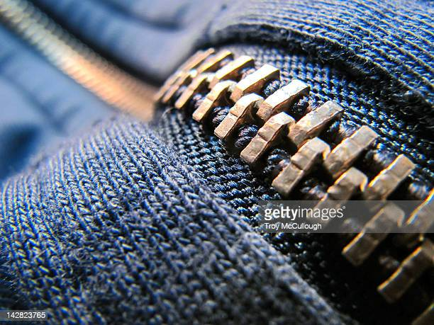 Zipper on blue jacket