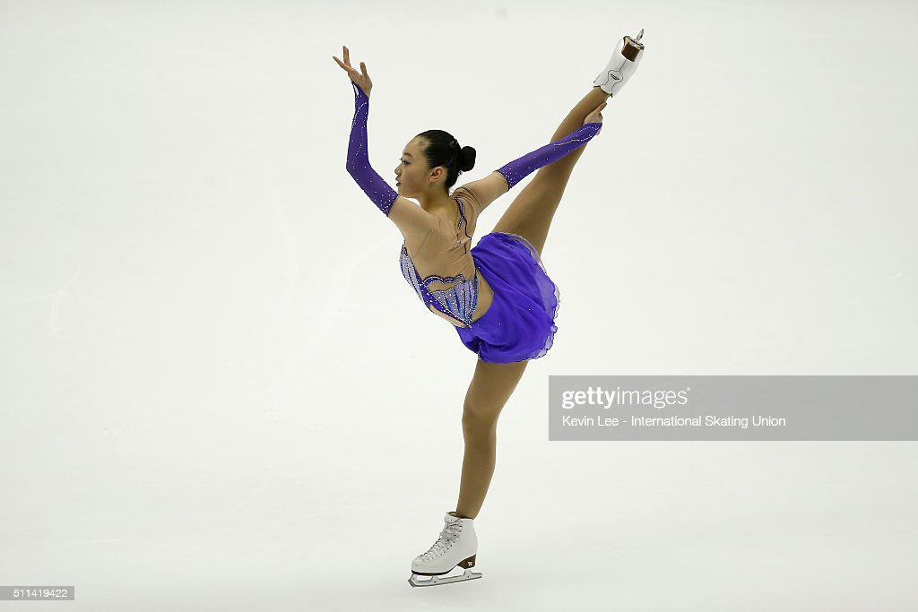 Ziquan Zhao of China performs during the Ladies Free Skating on day three of the ISU Four Continents Figure Skating Championships 2016 at Taipei...