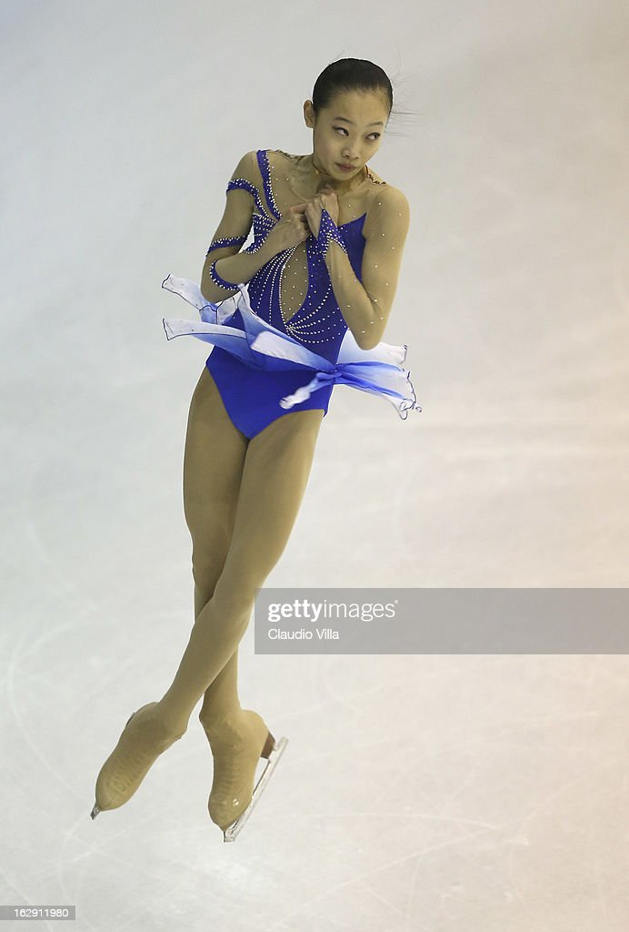 Ziquan Zhao of China skates in the Junior Ladies Short Program during day 5 of the ISU World Junior Figure Skating Championships at Agora Arena on March 01, 2013 in Milan, Italy.
