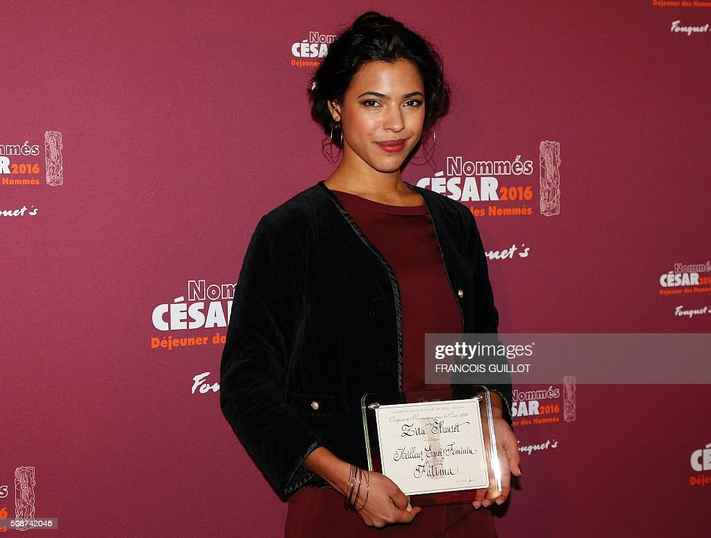 Zita Hanrot, nominated as Best Female Newcomer, poses during the nominations event for the 2016 César film awards, on February 6, 2016 in Paris. The 41st Ceremony for the Cesar film award, considered as the highest film honour in France, will take place on February 26, 2016. / AFP / FRANCOIS GUILLOT
