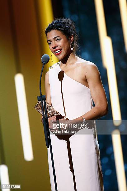 Zita Hanrot speaks on stage after she received the cesar for most promising actress for her role in the movie 'Fatima' during The Cesar Film Award...