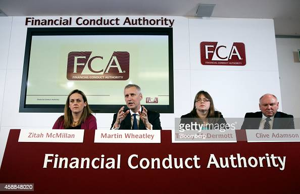 Zitah McMillan director of communications at the UK Financial Conduct Authority from left Martin Wheatley chief executive officer of the UK Financial...