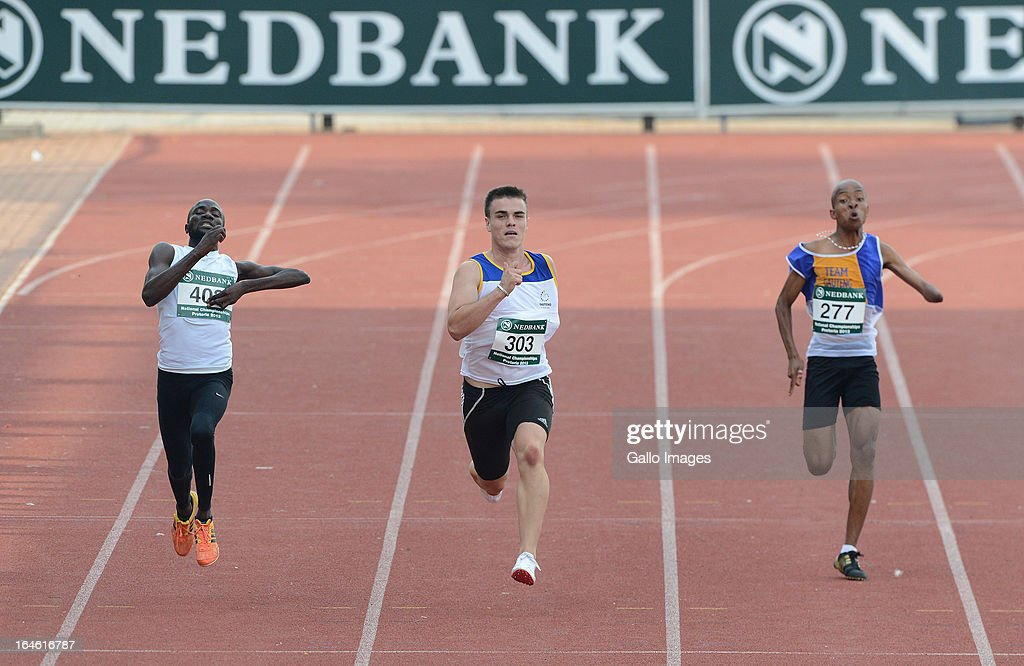 Zivan Smith of Gauteng wins the 200m during day 3 of The Nedbank National Championships for the Physically Disabled (Athletics) at LC de Villiers Stadium on March 25, 2013 in Pretoria, South Africa.