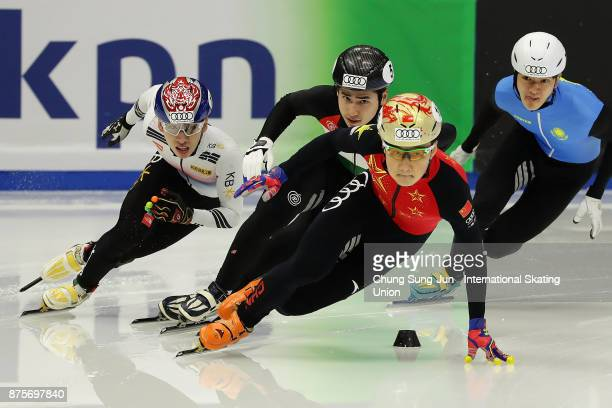 Ziwei Ren of China competes in the Men 500m Semifinals during the Audi ISU World Cup Short Track Speed Skating at Mokdong Ice Rink on November 18...