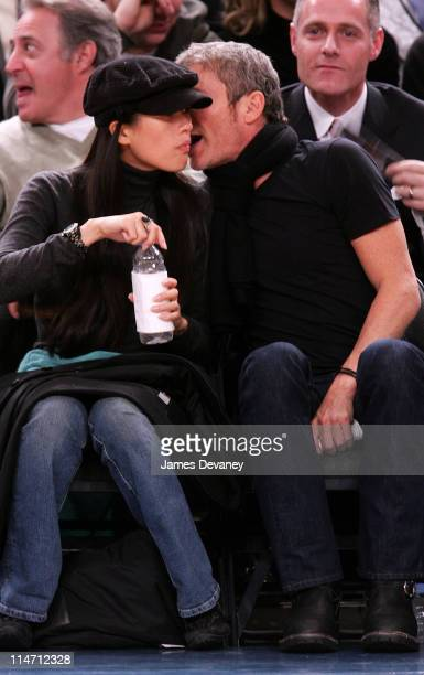 Ziyi Zhang and boyfriend during Celebrities Attend New Jersey Nets vs New York Knicks Game January 19 2007 at Madison Square Garden in New York City...