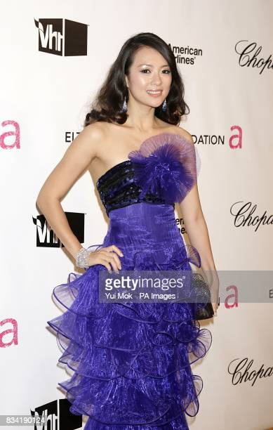 Ziyi Zhang arrives for the 16th Annual Sir Elton John AIDS Foundation Oscar Party at the Pacific Design Centre in Los Angeles
