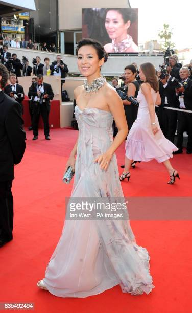 Ziyi Zhang arrives for the premiere of the new film Visageduring the Cannes Film Festival at the Palais de Festival in Cannes France
