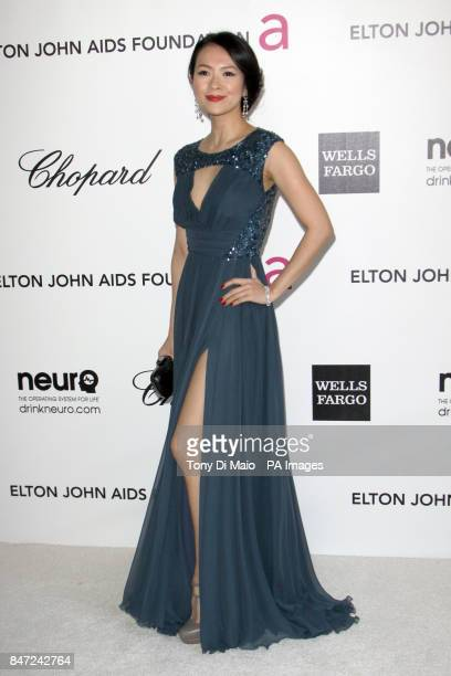 Ziyi Zhang arriving for the Elton John Aids Foundation Academy Awards Viewing Party at West Hollywood Park in Los Angeles USA
