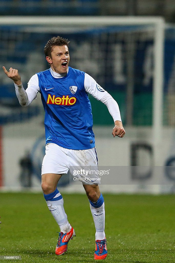 Zklatko Dedic of Bochum celebrates the first goal during the DFB cup round of sixteen match between VfL Bochum and 1860 Muenchen at Rewirpower...