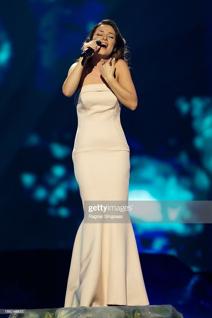 Zlata Ognevich of Ukraine performs on stage during the first semi final of Eurovision Song Contest 2013 at Malmo Arena on May 14, 2013 in Malmo, Sweden.