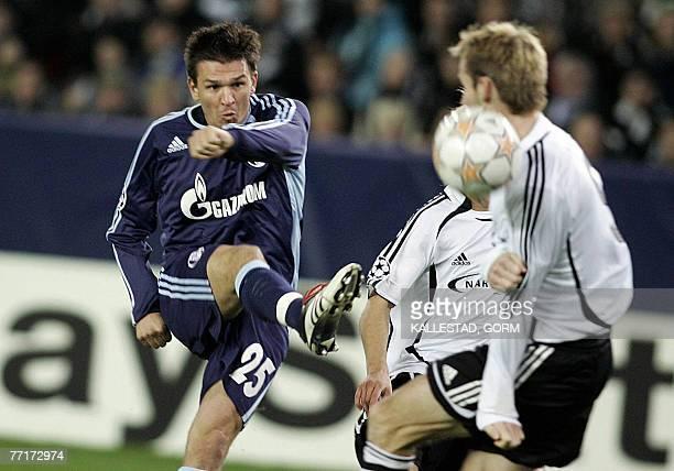 Zlatan Bajramovic of FC Schalke 04 shoots past FC Rosenborg defender Christer Basma during their UEFA Champions League group B football match at...