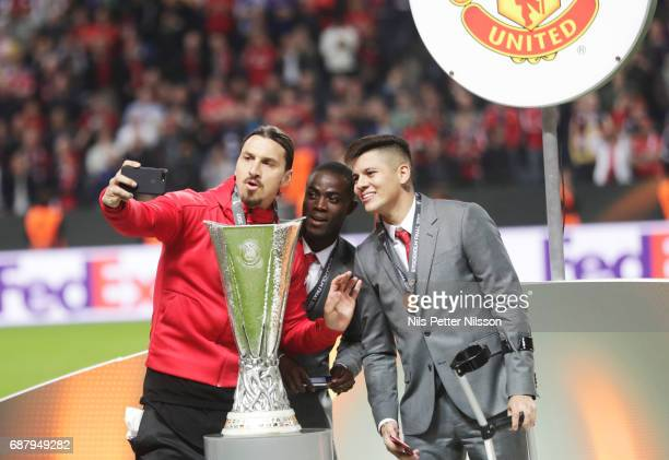 Zlatan Ibrahimovi of Manchester United takes a selfie during the UEFA Europa League Final between Ajax and Manchester United at Friends Arena on May...