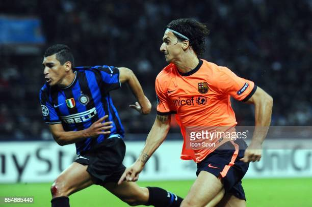 LUCIO / Zlatan IBRAHIMOVIC Inter Milan / Barcelone Champions League 2009/2010 Stade Giuseppe Meazza Milan