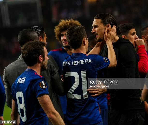 Zlatan Ibrahimovic and Ander Herrera and Juan Mata of Manchester United celebrate after the UEFA Europa League Final match between Ajax and...