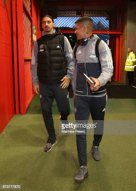 Zlatan Ibrahimovic and Marcos Rojo of Manchester United arrive ahead of the Premier League match between Manchester United and Newcastle United at...