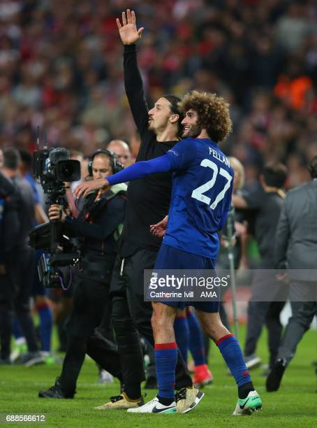 Zlatan Ibrahimovic and Marouane Fellaini of Manchester United'' during the UEFA Europa League Final match between Ajax and Manchester United at...