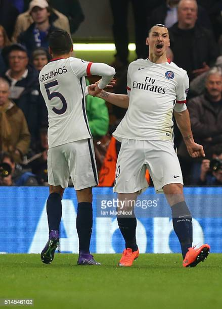 Zlatan Ibrahimovic and Marquinhos celebrate after Adrien Rabiot of Paris Saint Germain scores the opening goal during the UEFA Champions League Round...