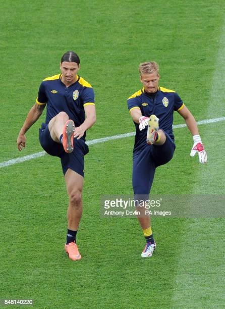 Zlatan Ibrahimovic and Par Hansson during the training session at the Olympic Stadium in Kiev Ukraine
