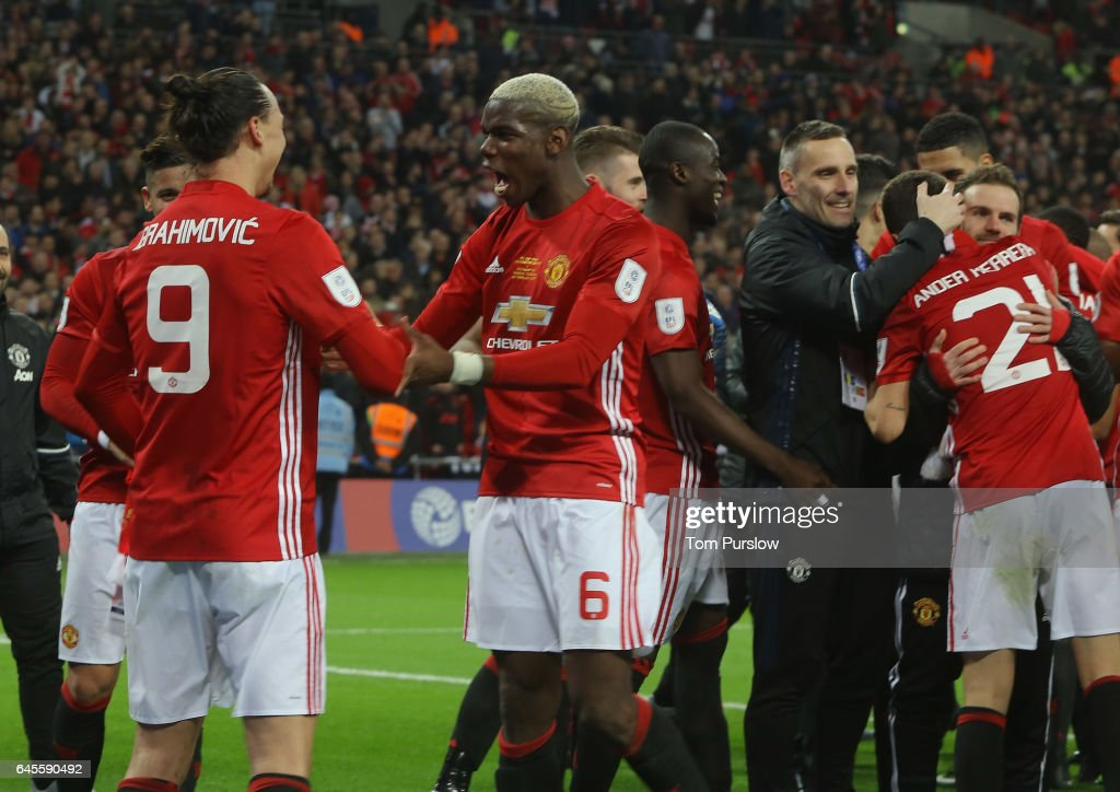 Zlatan Ibrahimovic and Paul Pogba of Manchester United celebrate after the EFL Cup Final match between Manchester United and Southampton at Wembley Stadium on February 26, 2017 in London, England.