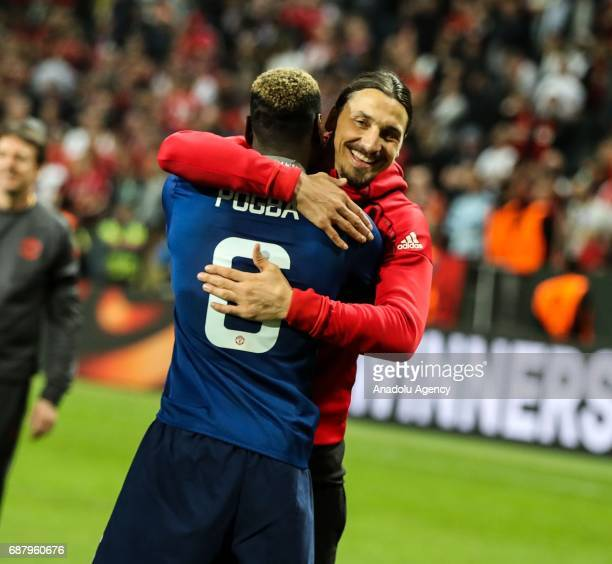 Zlatan Ibrahimovic and Paul Pogba of Manchester United celebrate after the UEFA Europa League Final match between Ajax and Manchester United at...