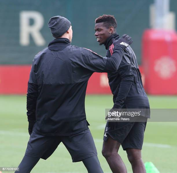 Zlatan Ibrahimovic and Paul Pogba of Manchester United in action during a first team training session at Aon Training Complex on November 21 2017 in...