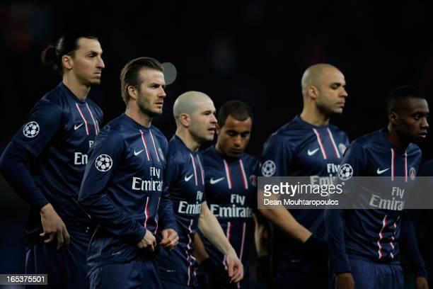 Zlatan Ibrahimovic David Beckham Christophe Jallet Lucas Moura Alex and Blaise Matuidi of PSG look on prior to the UEFA Champions League Quarter...