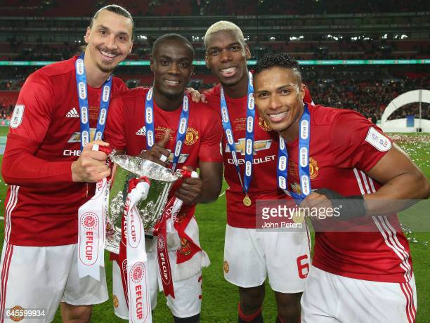 Zlatan Ibrahimovic Eric Bailly and Paul Pogba and Antonio Valencia of Manchester United celebrate after the EFL Cup Final match between Manchester...