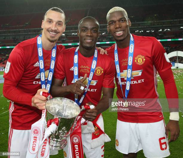 Zlatan Ibrahimovic Eric Bailly and Paul Pogba of Manchester United celebrate after the EFL Cup Final match between Manchester United and Southampton...