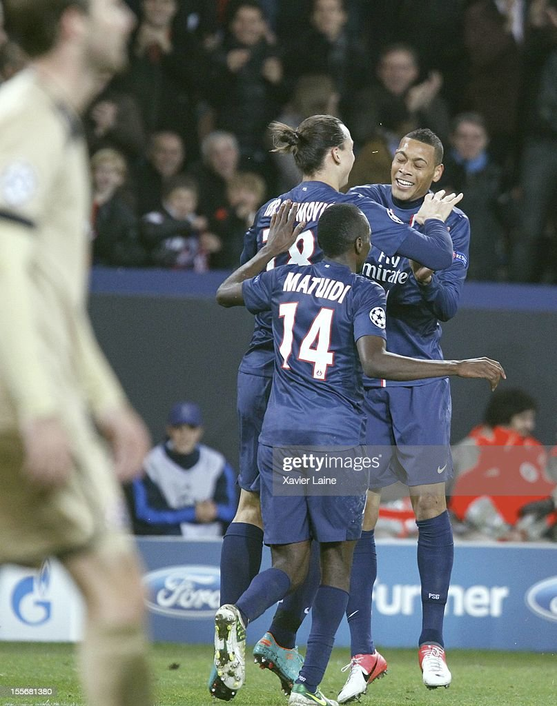 <a gi-track='captionPersonalityLinkClicked' href=/galleries/search?phrase=Zlatan+Ibrahimovic&family=editorial&specificpeople=206139 ng-click='$event.stopPropagation()'>Zlatan Ibrahimovic</a>, <a gi-track='captionPersonalityLinkClicked' href=/galleries/search?phrase=Guillaume+Hoarau&family=editorial&specificpeople=5223496 ng-click='$event.stopPropagation()'>Guillaume Hoarau</a> and <a gi-track='captionPersonalityLinkClicked' href=/galleries/search?phrase=Blaise+Matuidi&family=editorial&specificpeople=801779 ng-click='$event.stopPropagation()'>Blaise Matuidi</a> of Paris Saint-Germain celebrate a goal of <a gi-track='captionPersonalityLinkClicked' href=/galleries/search?phrase=Guillaume+Hoarau&family=editorial&specificpeople=5223496 ng-click='$event.stopPropagation()'>Guillaume Hoarau</a> during the UEFA Champions League between Paris Saint Germain and GNK Dinamo Zagreb at Parc Des Princes on November 06, 2012 in Paris, France.