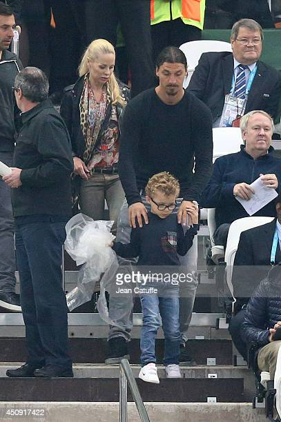 Zlatan Ibrahimovic his son Vincent Ibrahimovic and his wife Helena Seger attend the 2014 FIFA World Cup Brazil Group D match between Uruguay and...