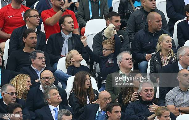Zlatan Ibrahimovic his sons Maximilian Ibrahimovic Vincent Ibrahimovic and his wife Helena Seger attend the 2014 FIFA World Cup Brazil Group D match...