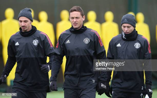 Zlatan Ibrahimovic Nemanja Matic and Victor Lindelof of Manchester United in action during a first team training session at Aon Training Complex on...