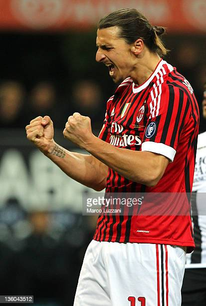 Zlatan Ibrahimovic of AC Milan celebrates his goal during the Serie A match between AC Milan and AC Siena at Stadio Giuseppe Meazza on December 17...